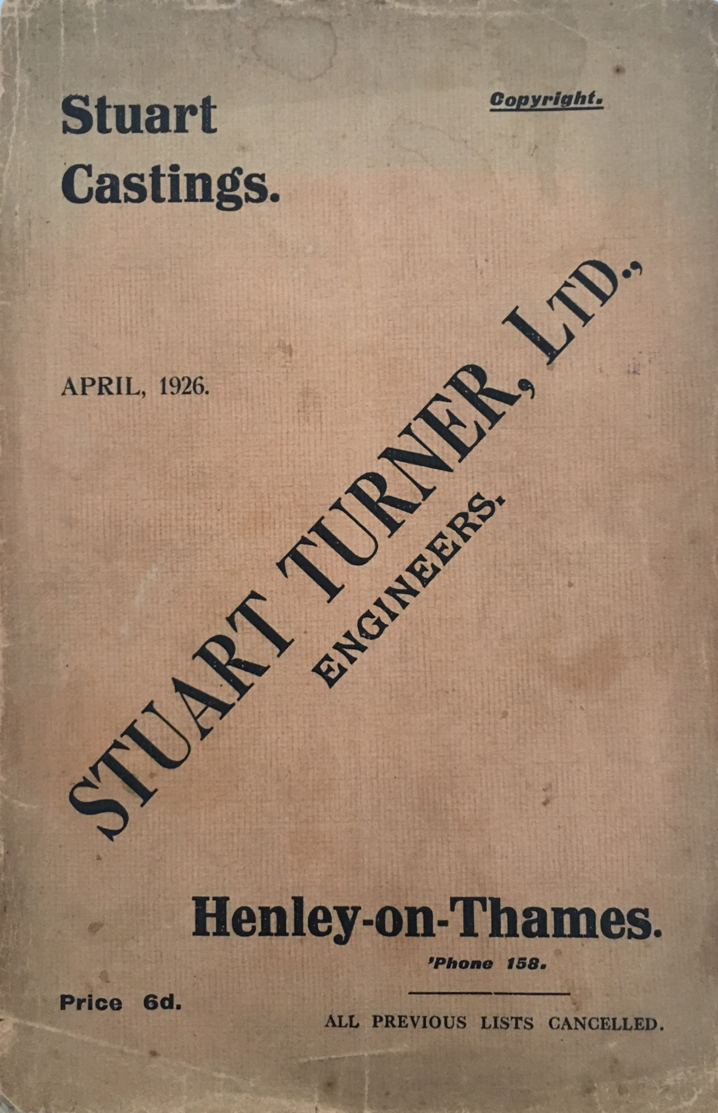 Early Stuart Turner Catalogue